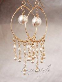 Bridal Chandelier Earrings, Pearl Drop Gold Earrings, Wire ...