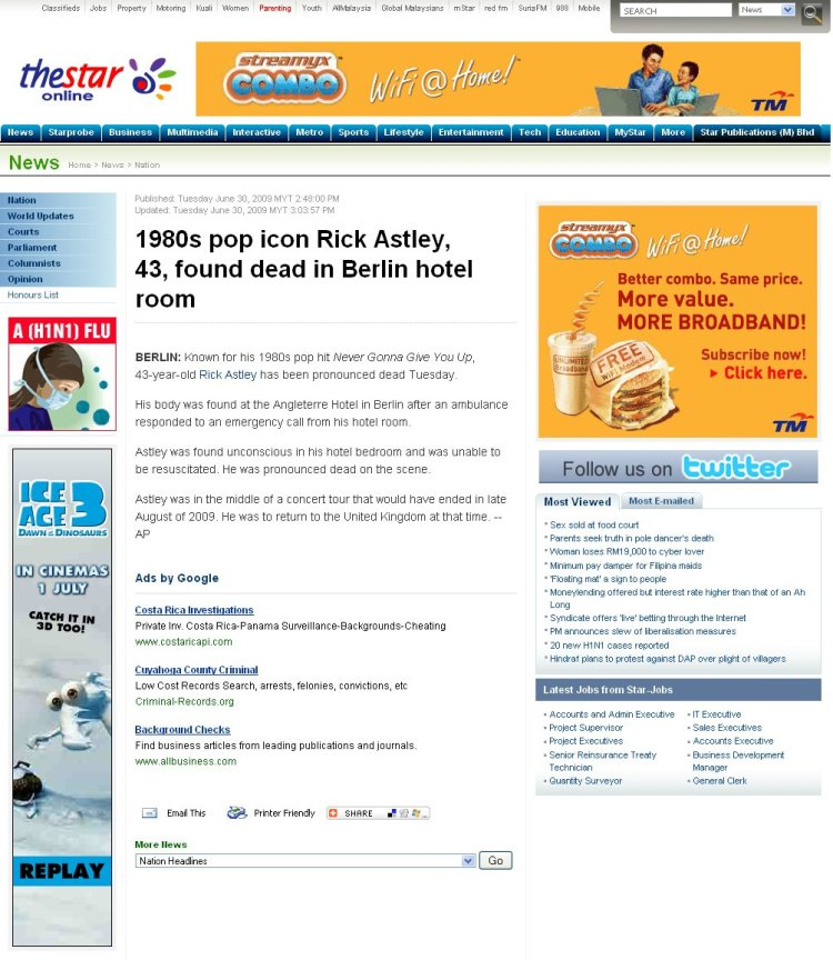 TheStar.com.my's report on what turned out to be not the death of Rick Astley