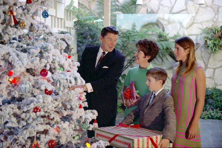 Ronald, Nancy, Ron and Patti Reagan, Christmas 1967.