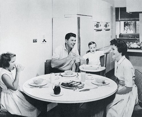 Another still from one of the Reagan family's television commercials for G.E.