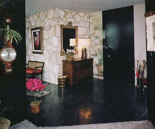 The slated-floor entry hall of the Reagan home.