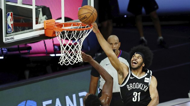 Jarrett Allen of the Brooklyn Nets finishes the match against the Washington Wizards.