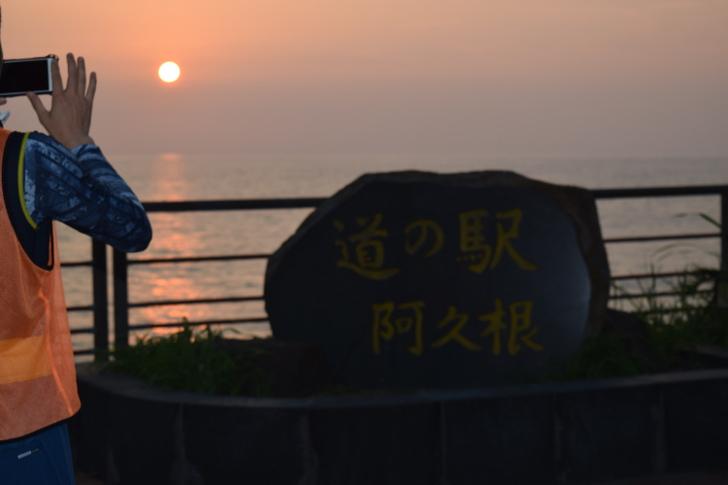 道の駅阿久根の夕日を撮影