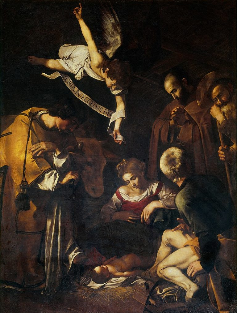 Nativity with Saints Lawrence and Francis by Caravaggio (Michelangelo Merisi da Caravaggio), 1609. [This great work was originally over the altar in the Oratory of St. Lawrence in Palermo, Sicily but disappeared in 1969 in a yet-to-be-solved theft. A replica has taken its place in the Oratory: in situ below.]
