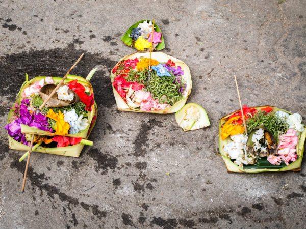 marché, Bali, indonésie, offrandes