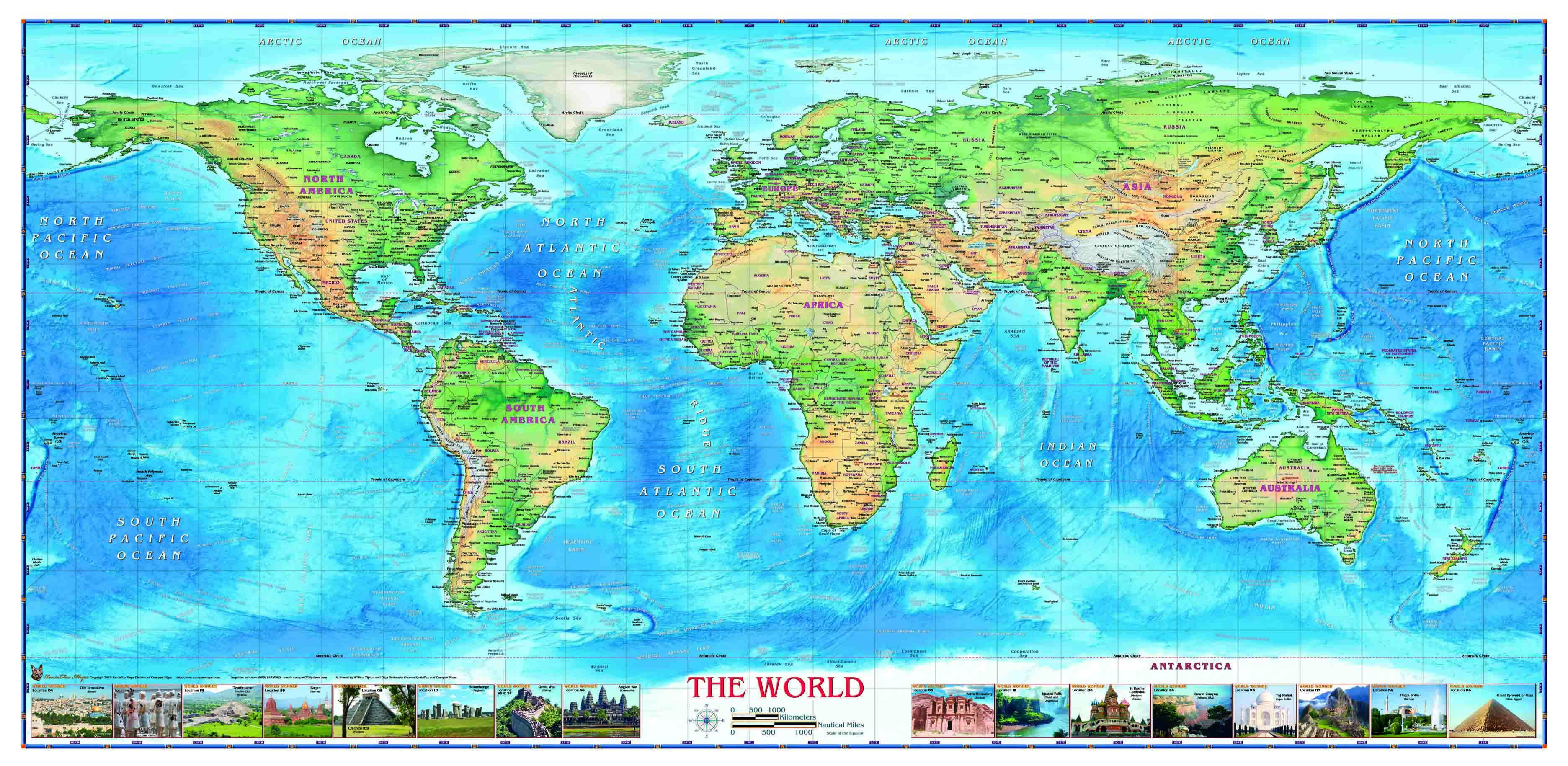 World Political Map With Wonders