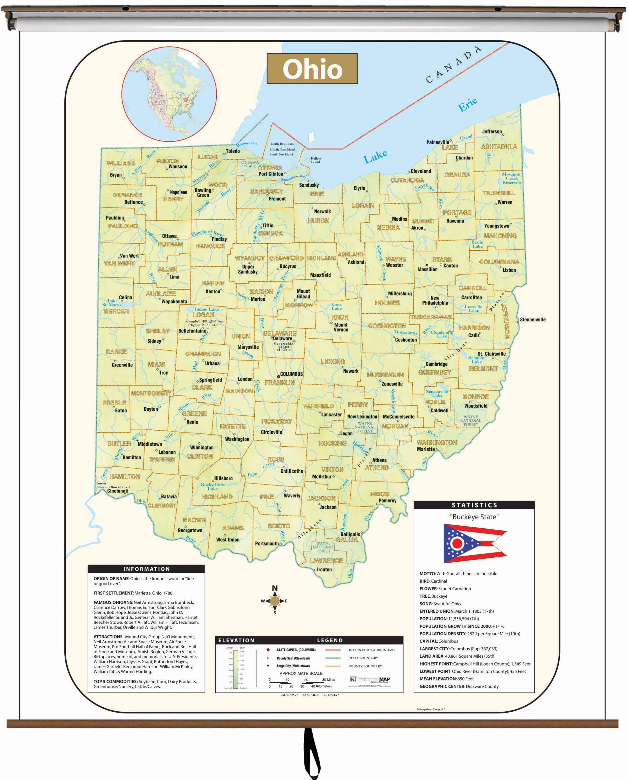 Ohio Large Scale Shaded Relief Wall Map On Roller With