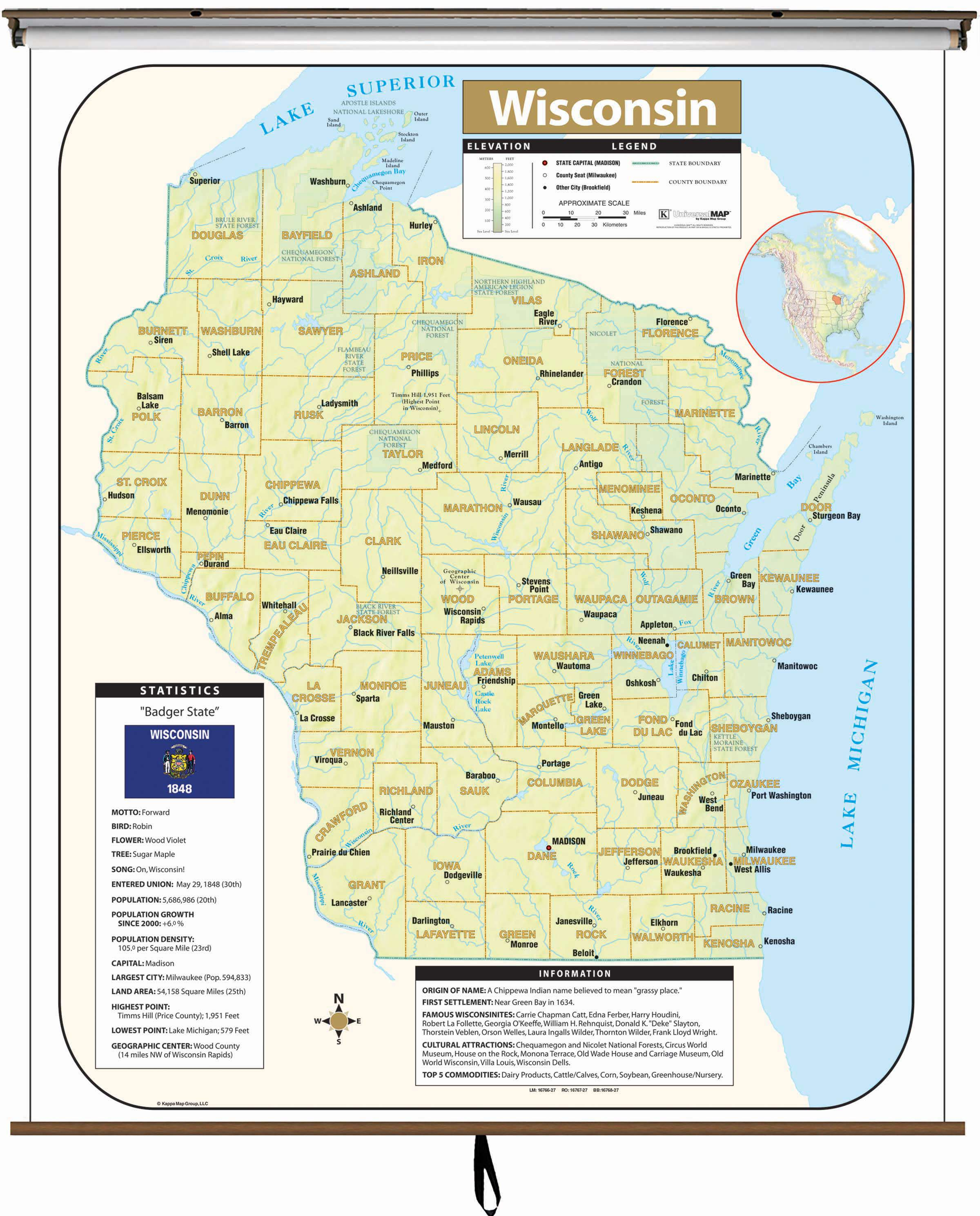 Wisconsin Large Scale Shaded Relief Wall Map On Roller