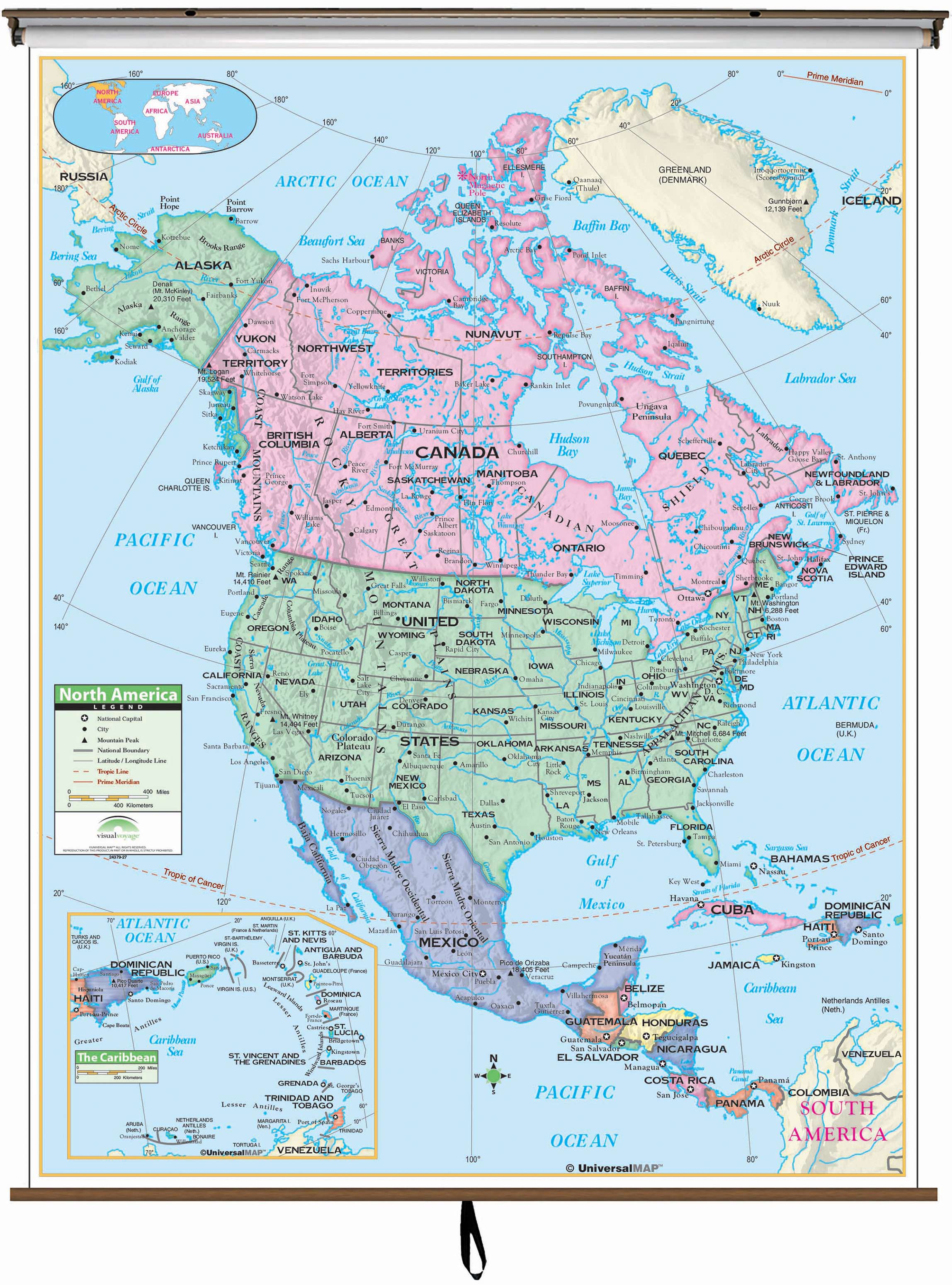 North America Primary Classroom Wall Map On Roller W