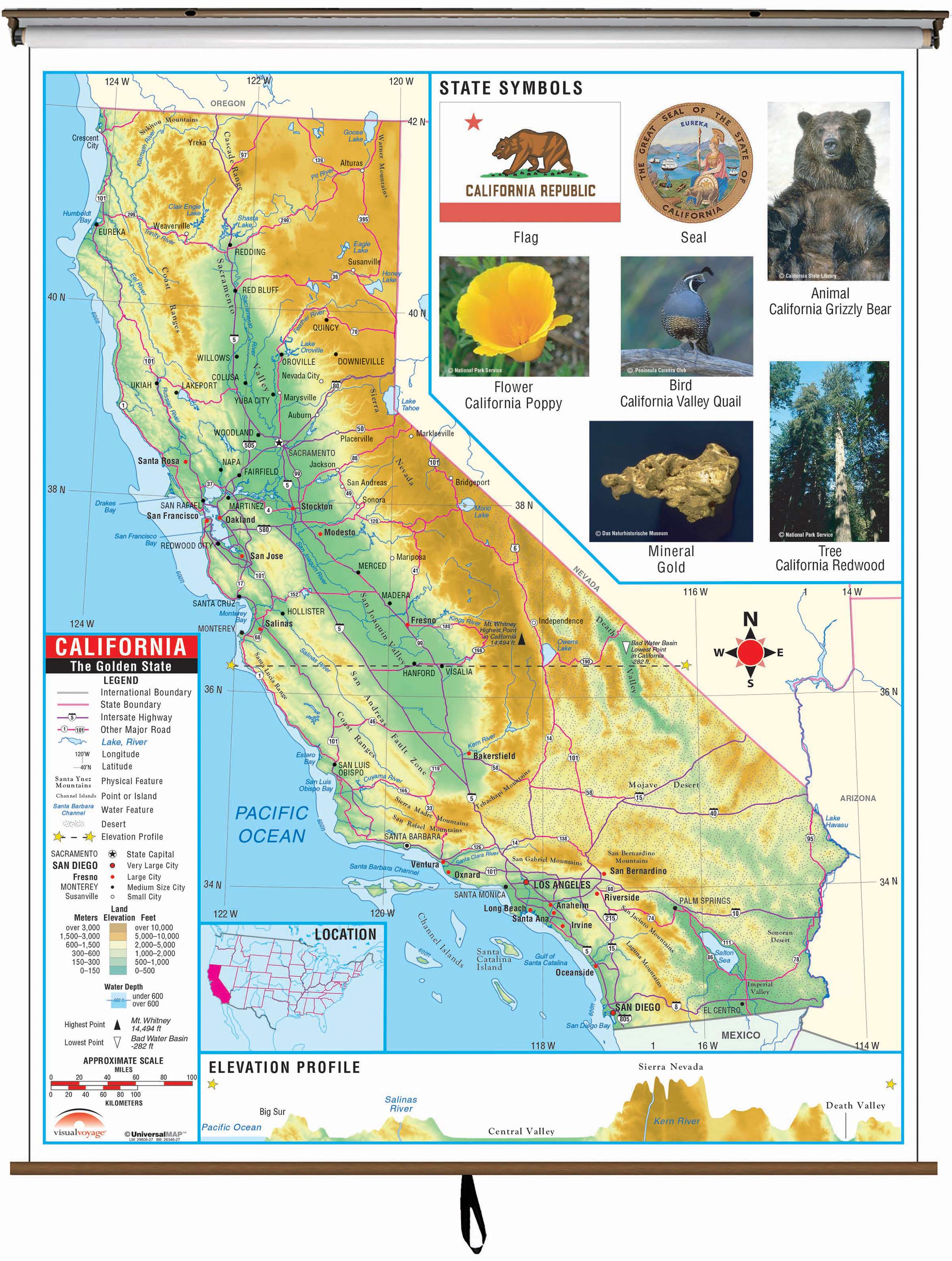 California State Primary Thematic Wall Map On Roller W