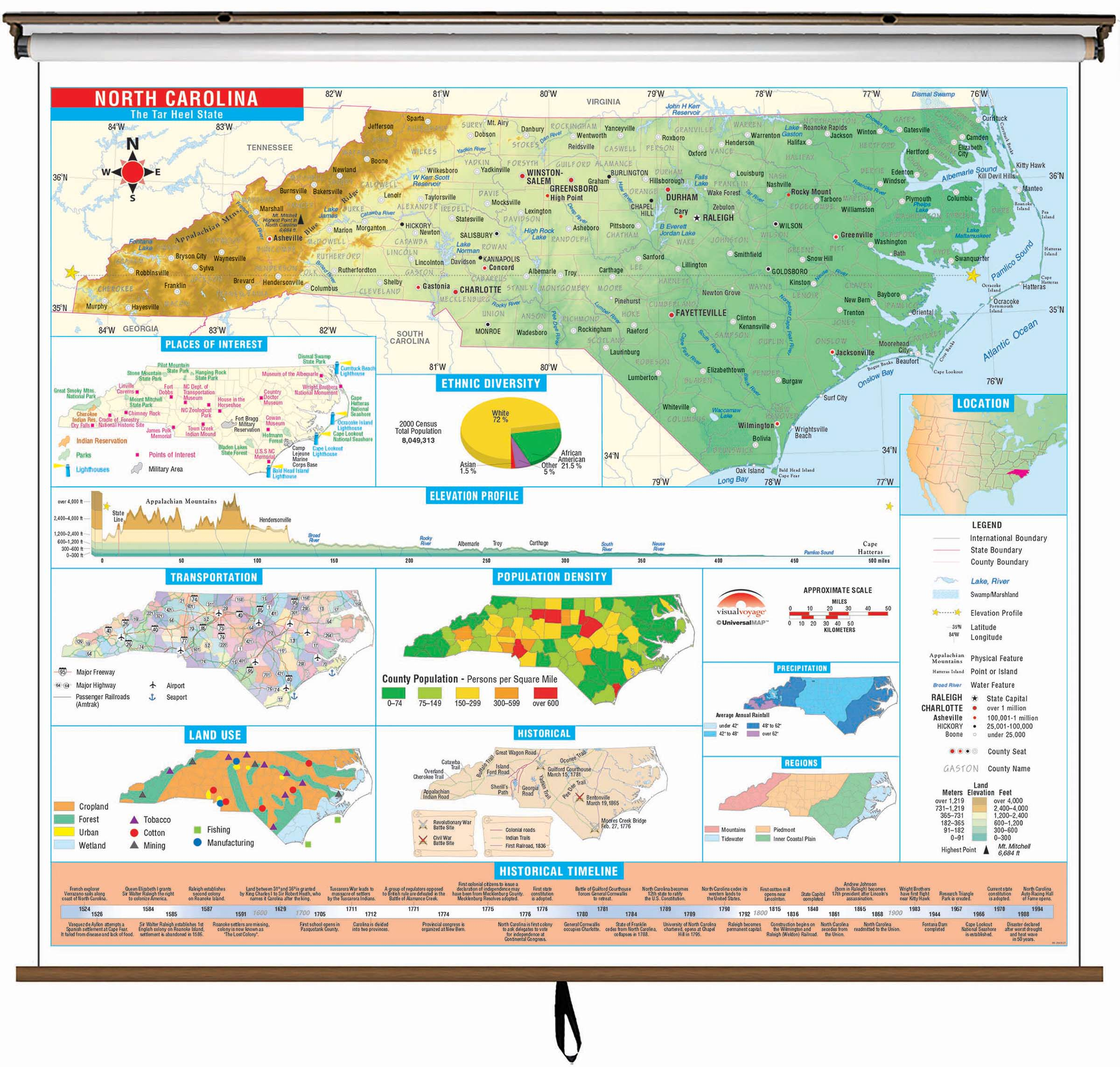 North Carolina State Intermediate Thematic Wall Map On