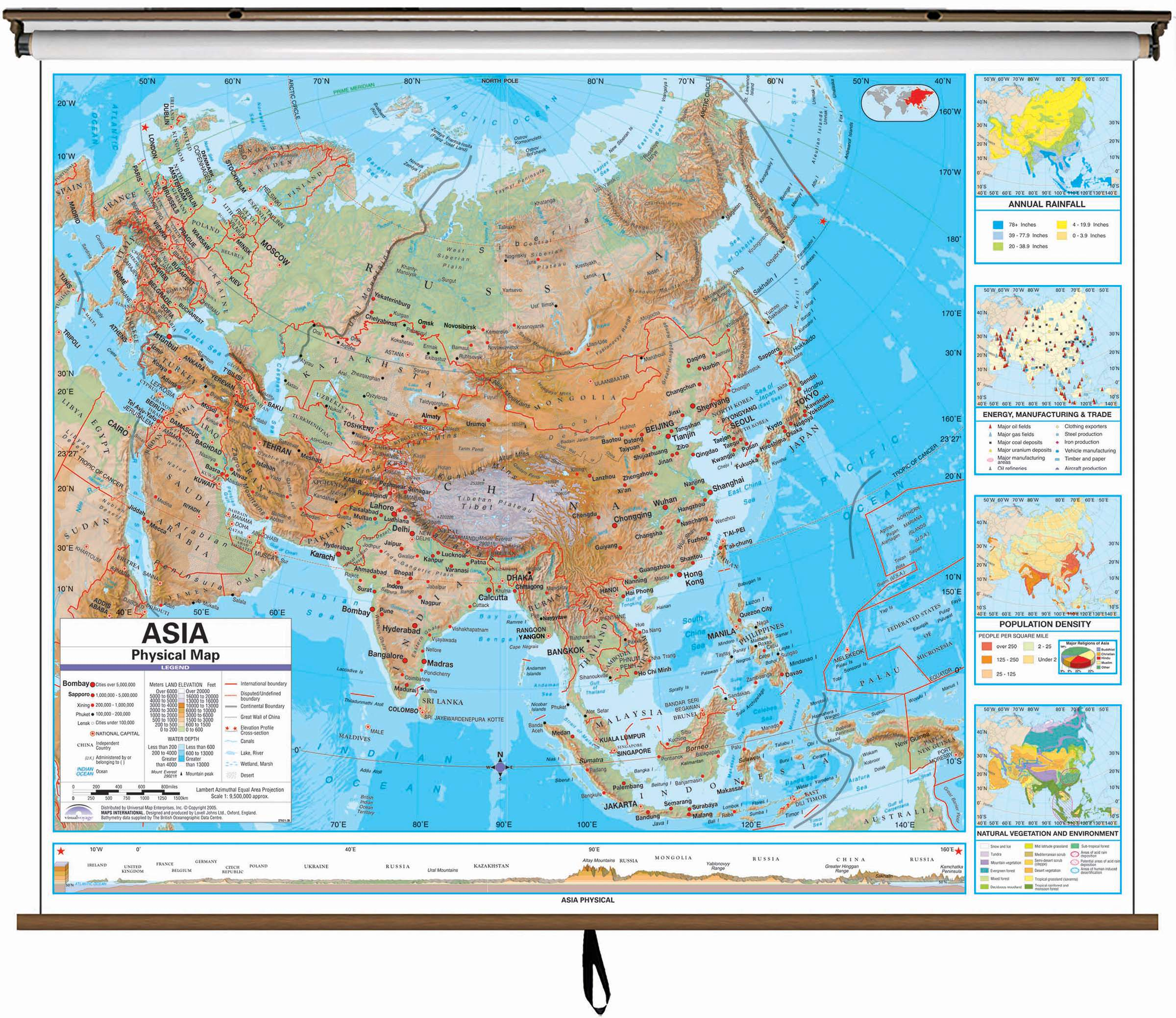 Asia Advanced Physical Classroom Wall Map On Roller W