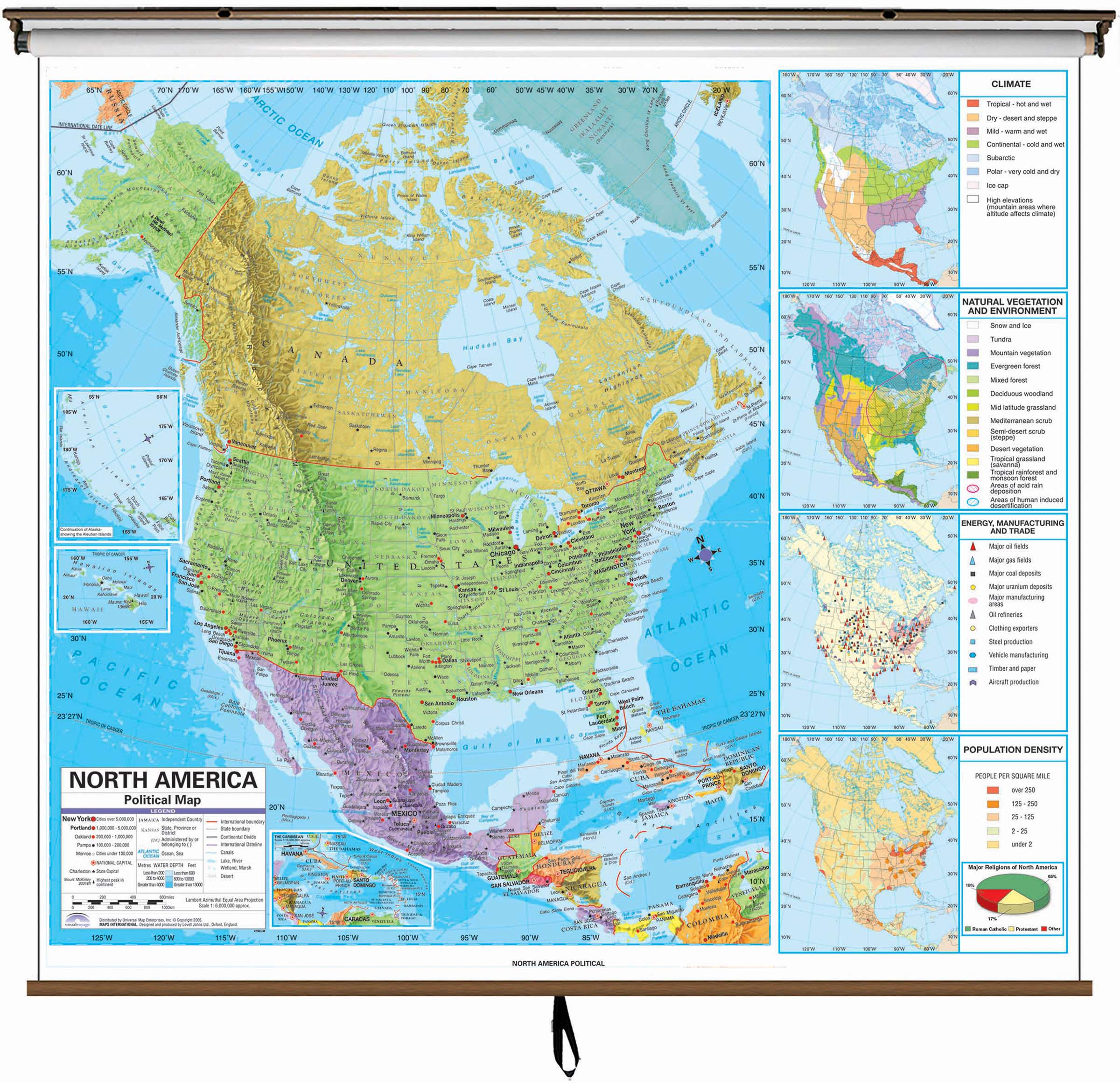 North America Advanced Political Classroom Wall Map On