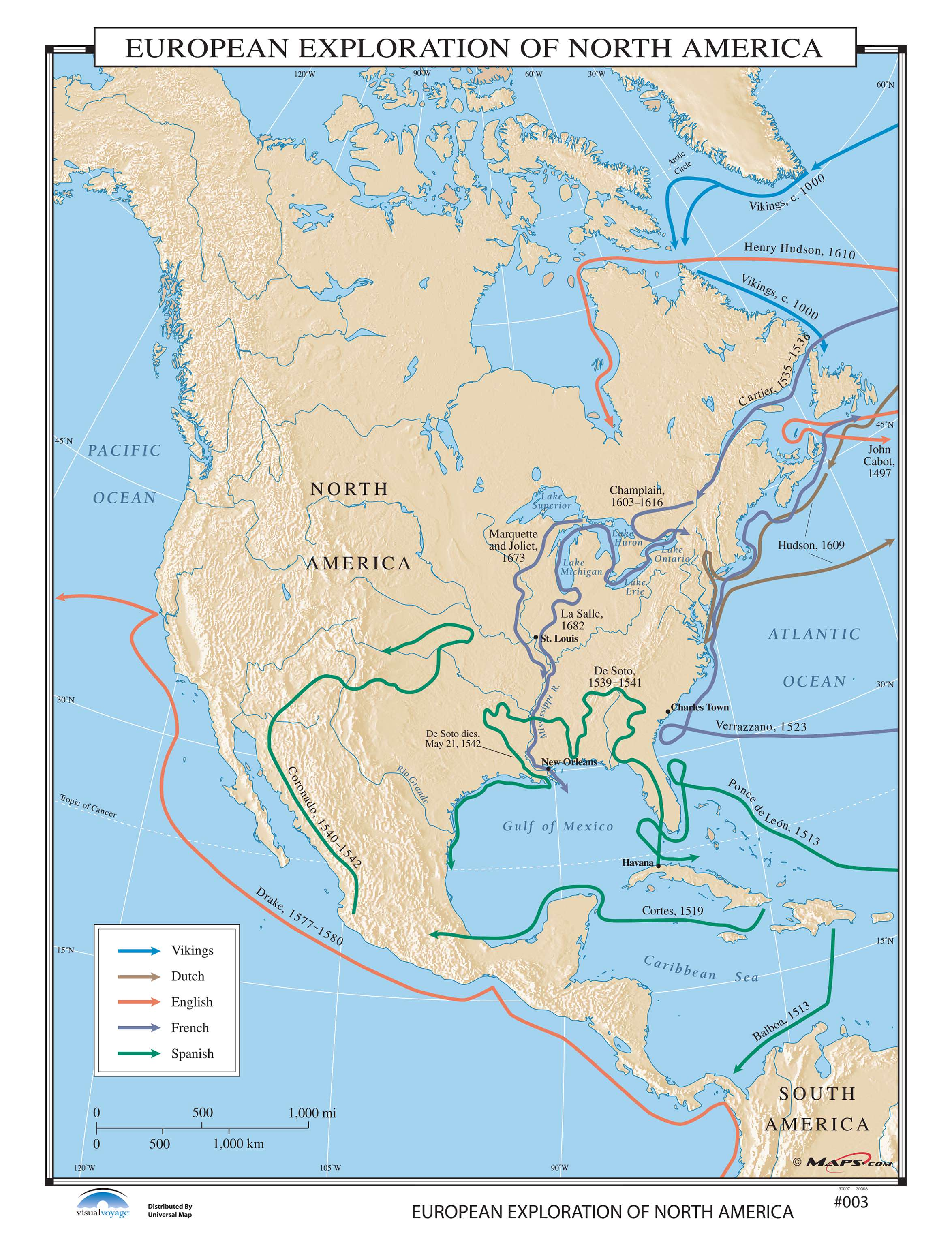003 European Exploration Of North America On Roller W