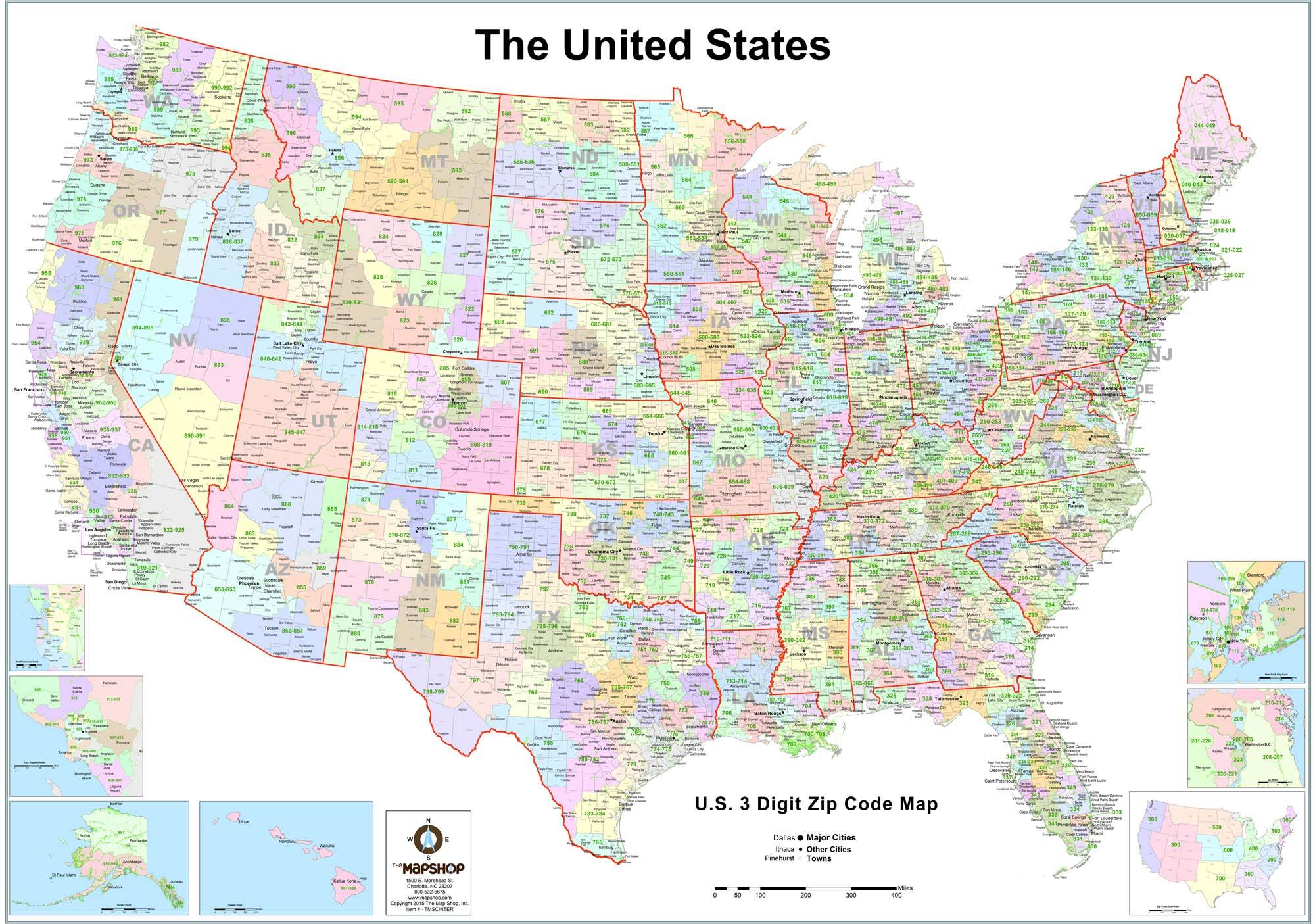 United States 3Digit Zip Code Wall Map  The Map Shop