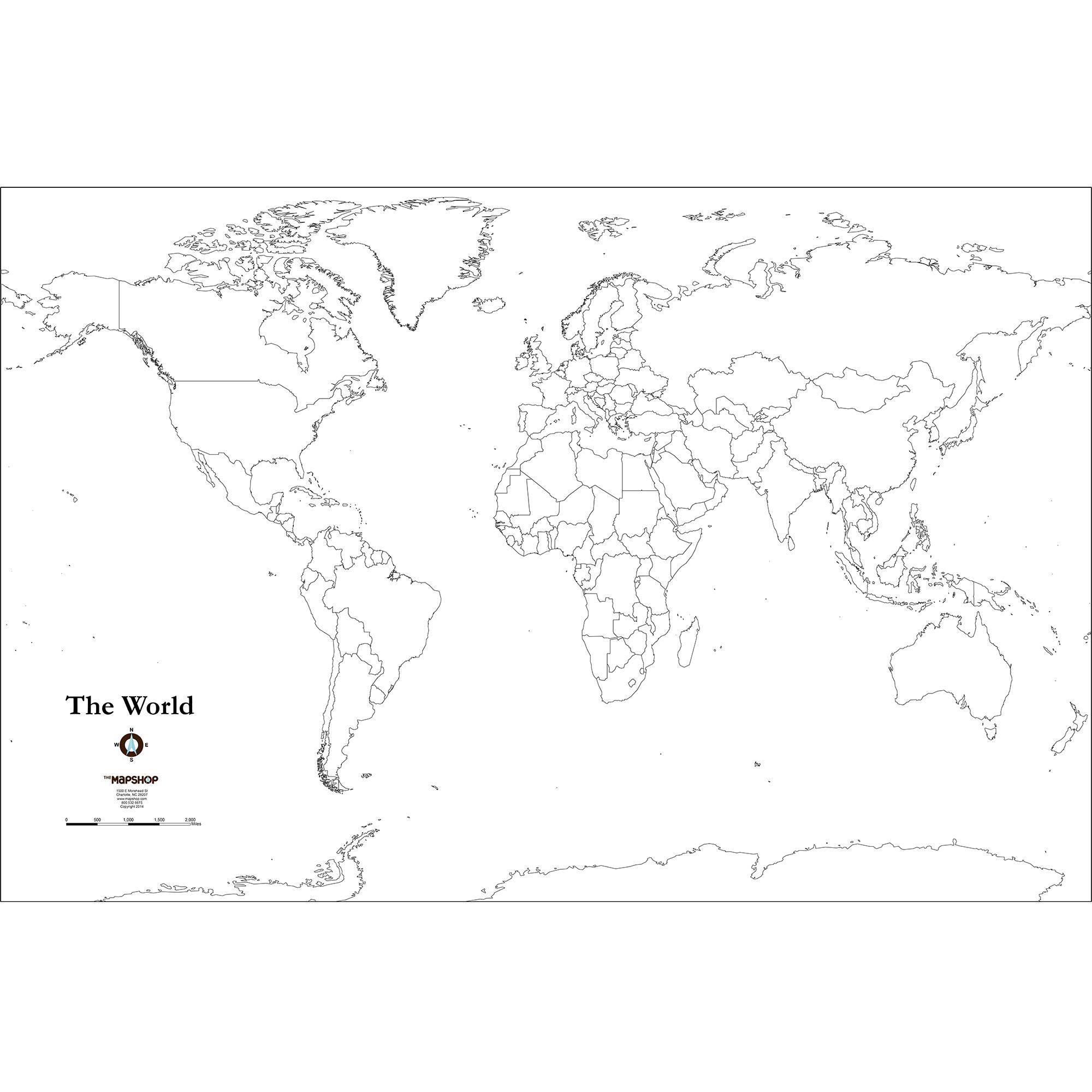 Blank World Outline Wall Map