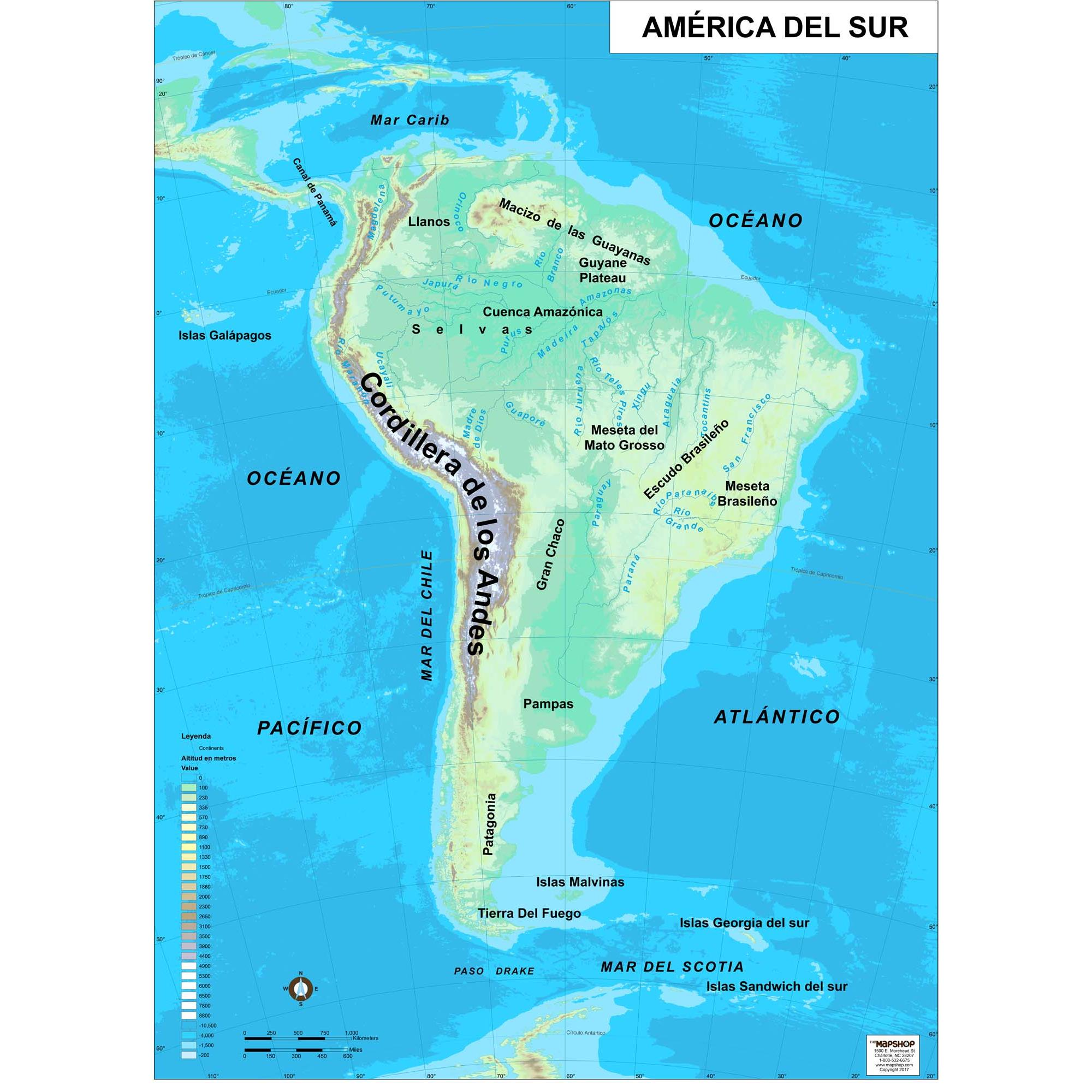 South America Physical Wall Map In Spanish