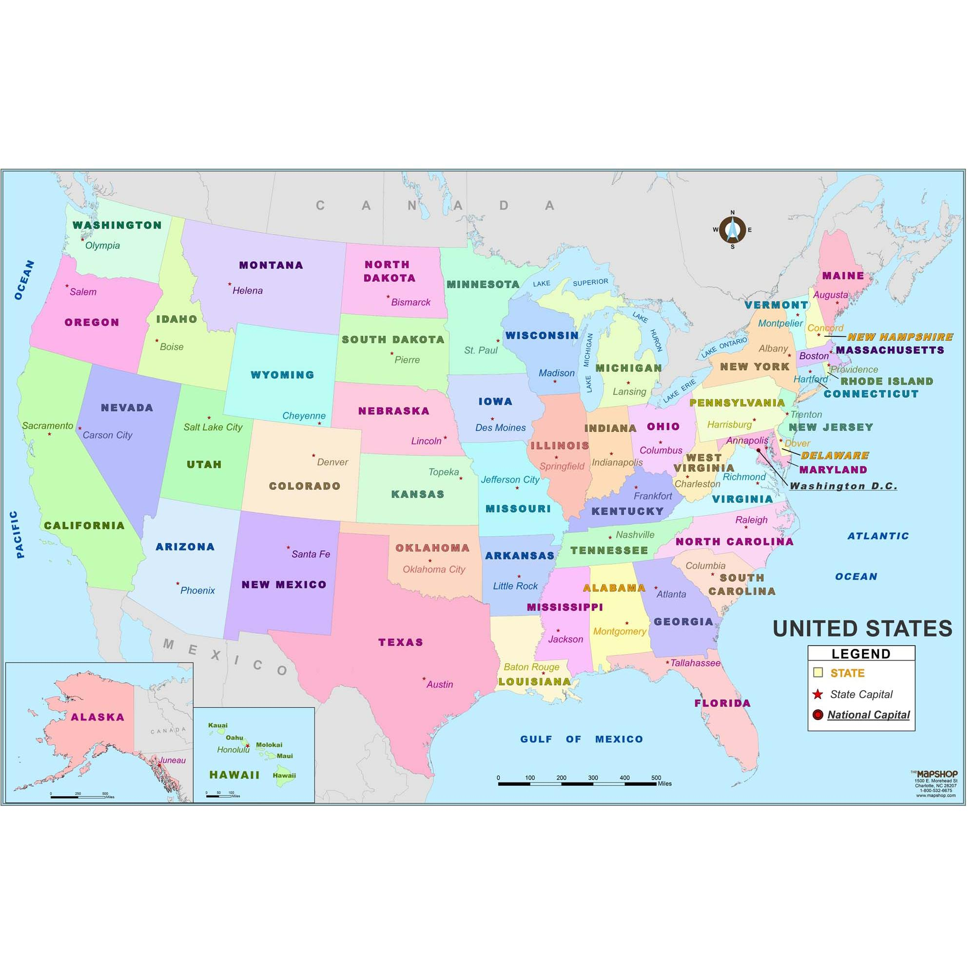 Elementary United States Wall Map