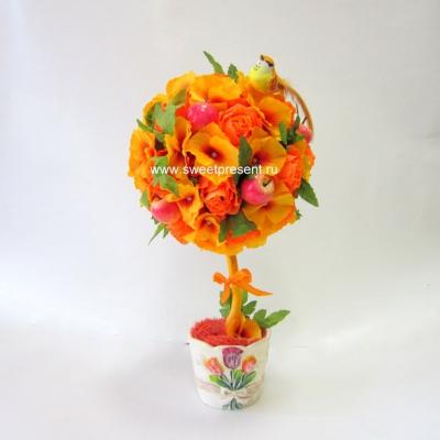 sladkiy_topiariy_13_06173112 Топиарий из конфет. Сладкий топиарий: дерево, яблоко, букет и часы из конфет