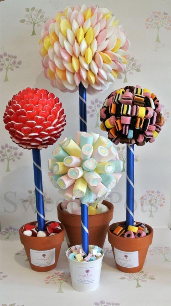 sladkiy_topiariy_9_06173106 Топиарий из конфет. Сладкий топиарий: дерево, яблоко, букет и часы из конфет