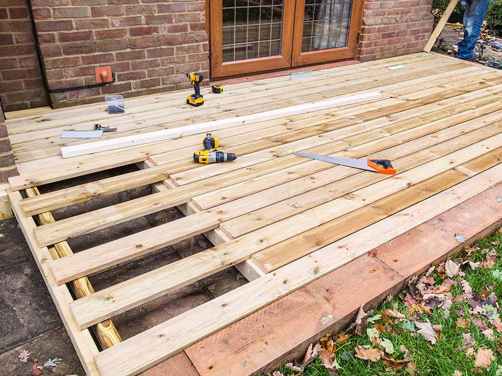 a wood deck or a paving stone patio