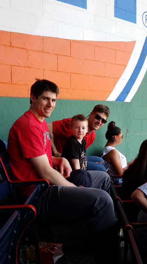 Three of the sons enjoying our trip to Fenway. (c) 1inawesomewonder