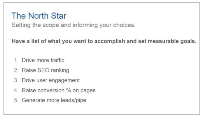 goals of website optimization, example list that Salesforce used
