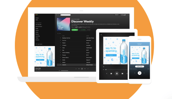 example of ads on Spotify's discover weekly page
