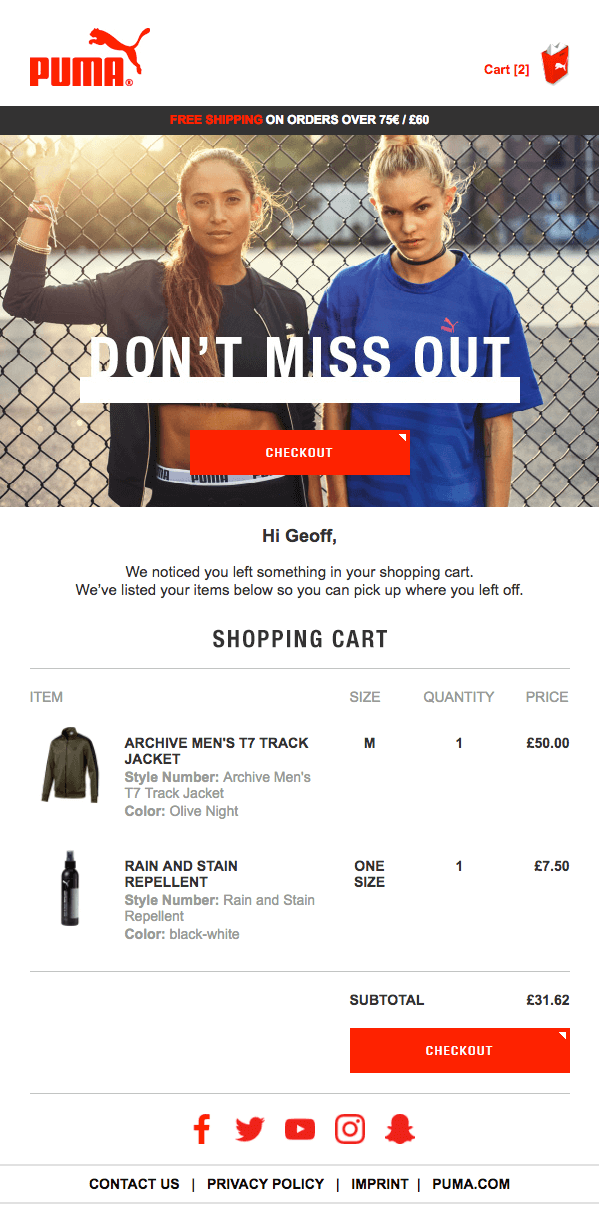 salecycle example of cart abandonment email creative for puma