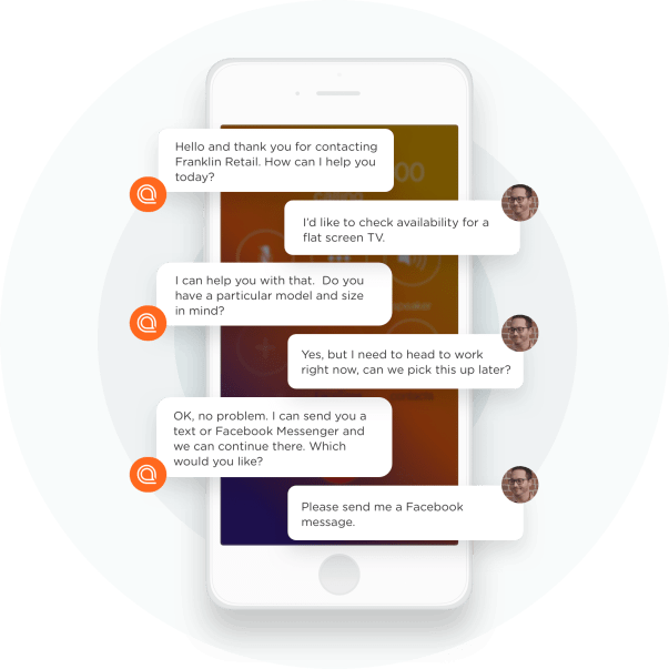 example of text-based conversational AI, via Interaction tool