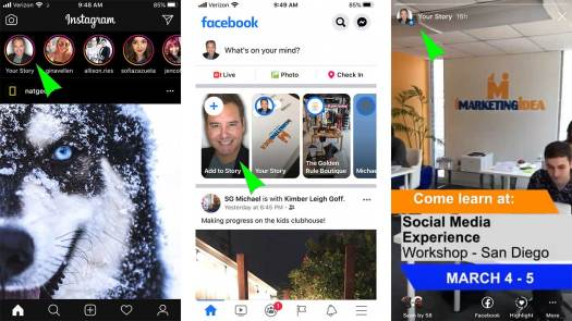 INstagram and Facebook Stories Examples