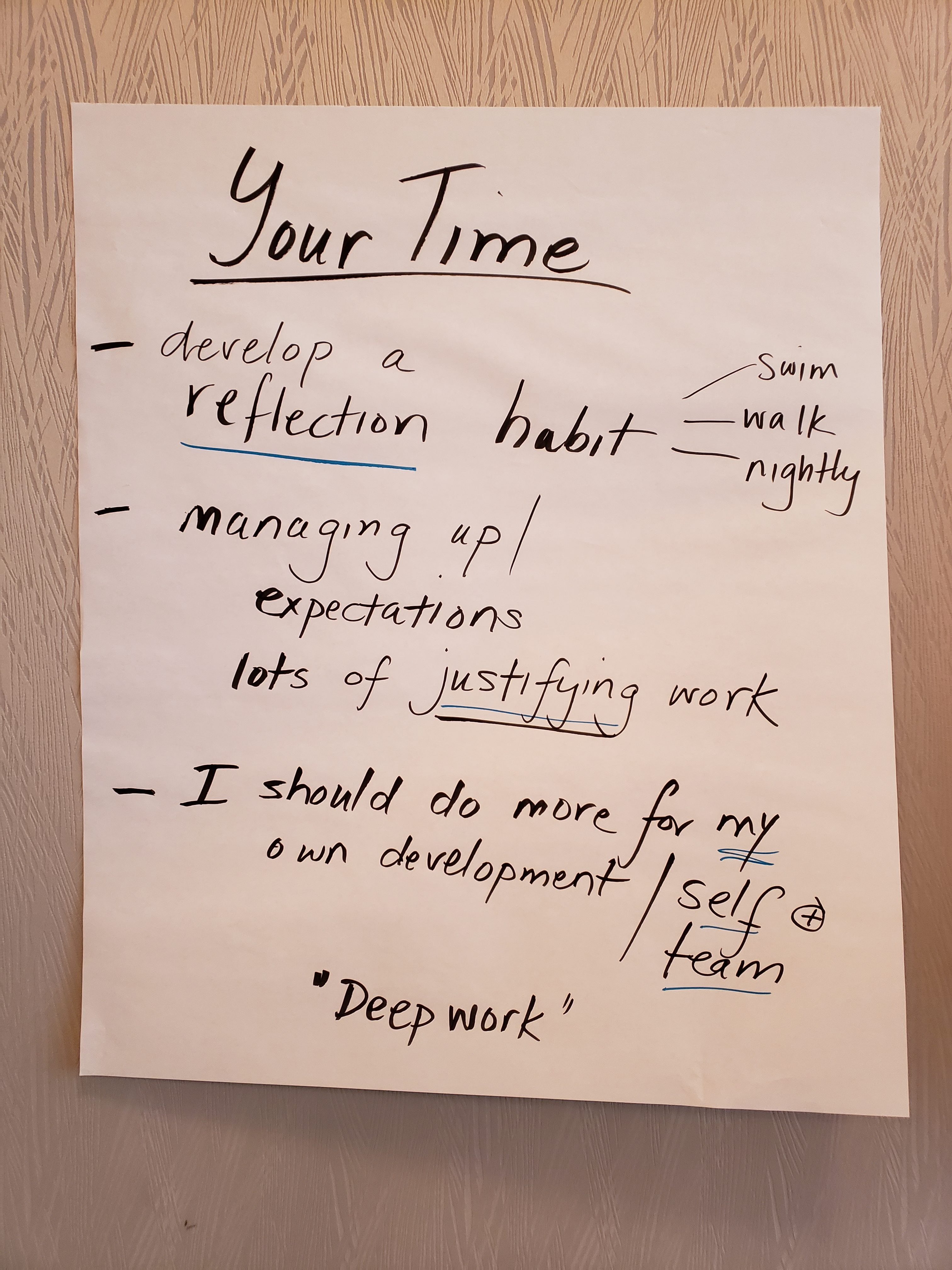 flip chart with ideas about your time