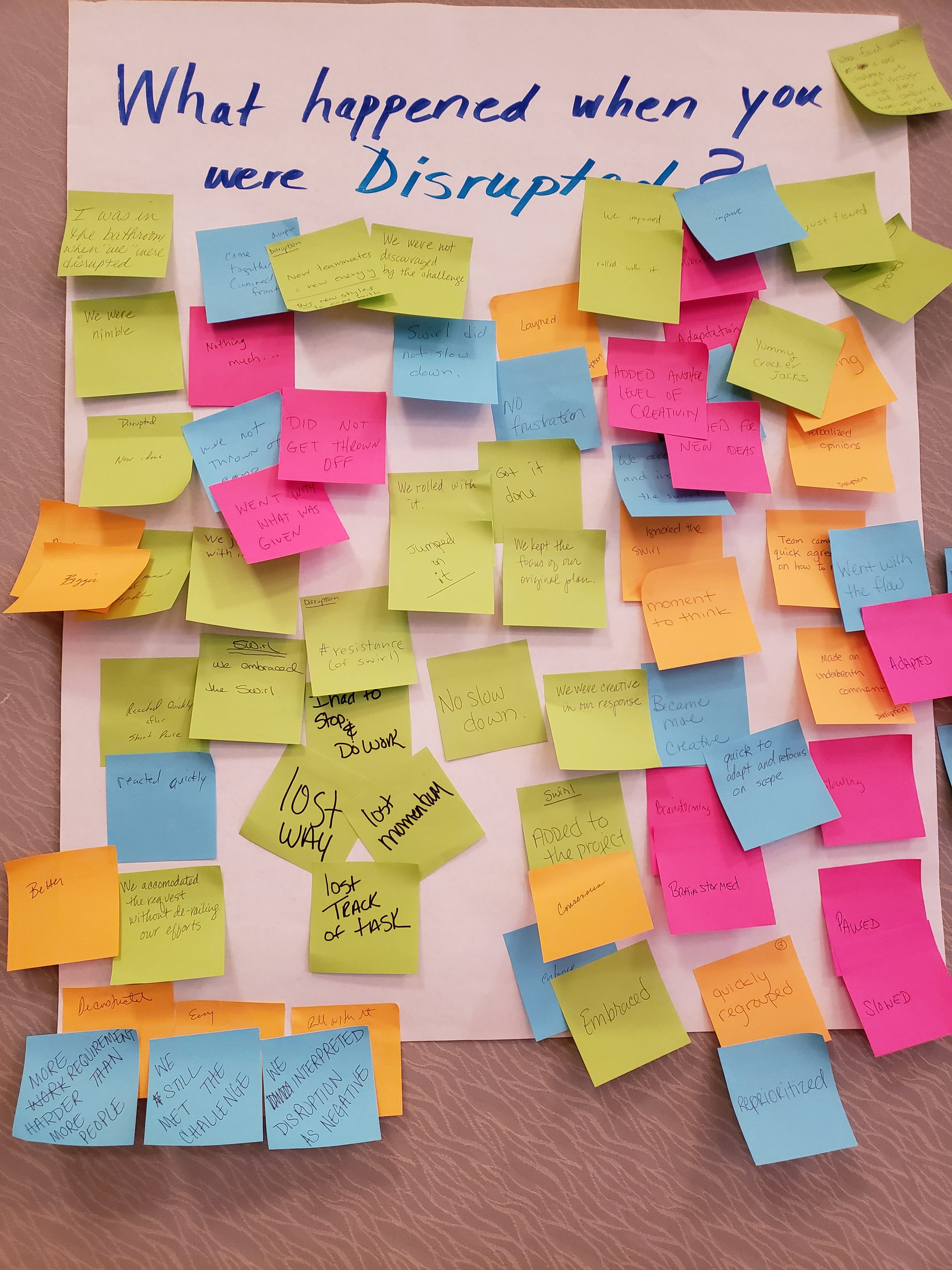 """flip chart with post it notes relating to the question """"what happened when you were disrupted"""""""