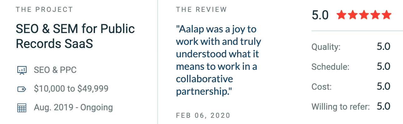"""""""[They] listened to our ideas and desired outcomes, provided thorough, insightful information that was entirely data-driven, and brilliant strategic ideas."""" ~Nate Mack, Senior Marketing Manager, GovQA"""