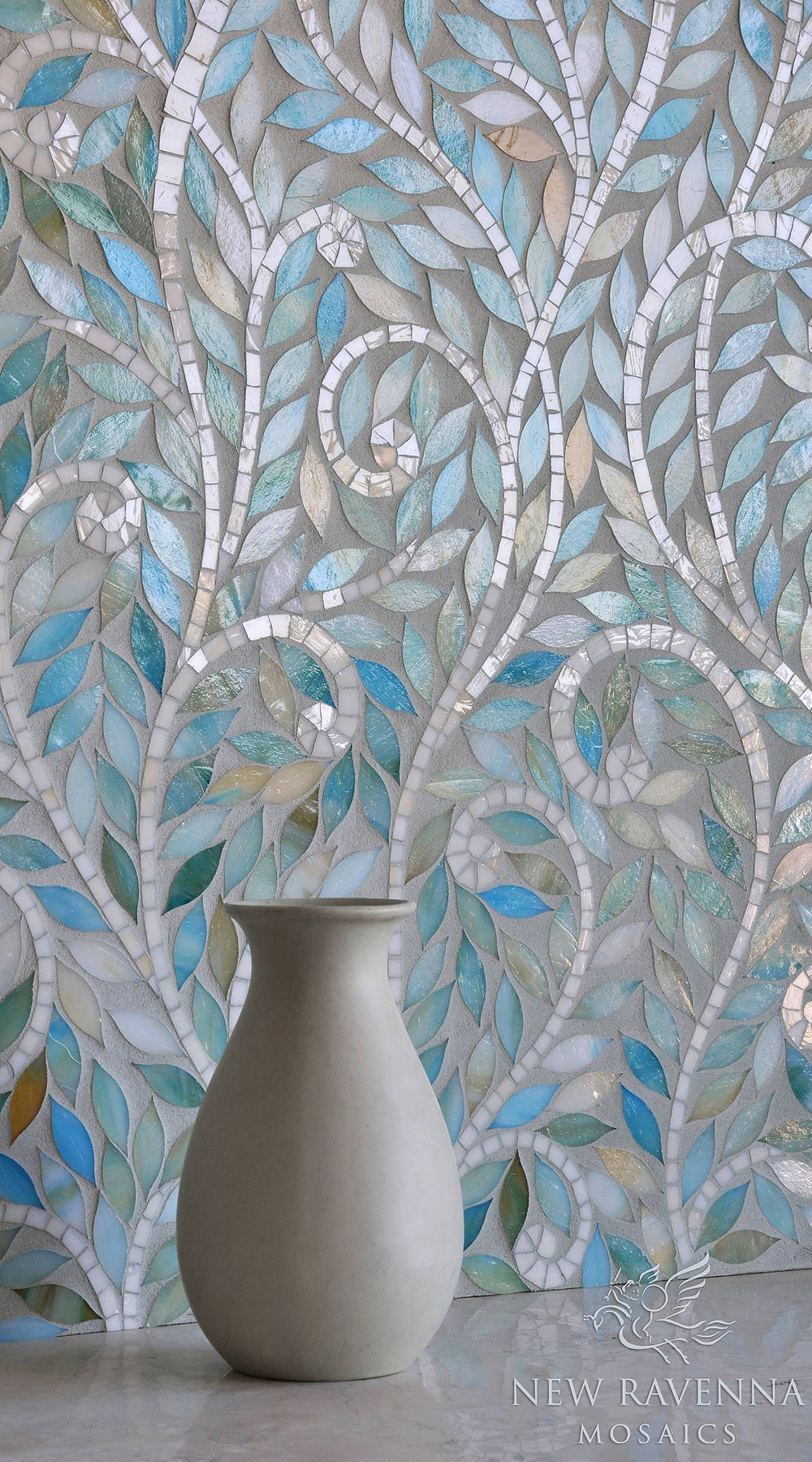 91206 mosaic contemporary blue stain