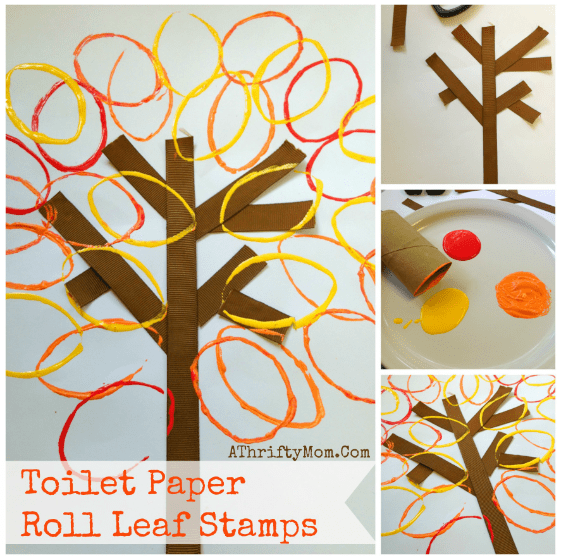 Fall Leaves Craft made with a toilet paper roll and paint, quick and easy diy craft for kids Party Ideas for kids