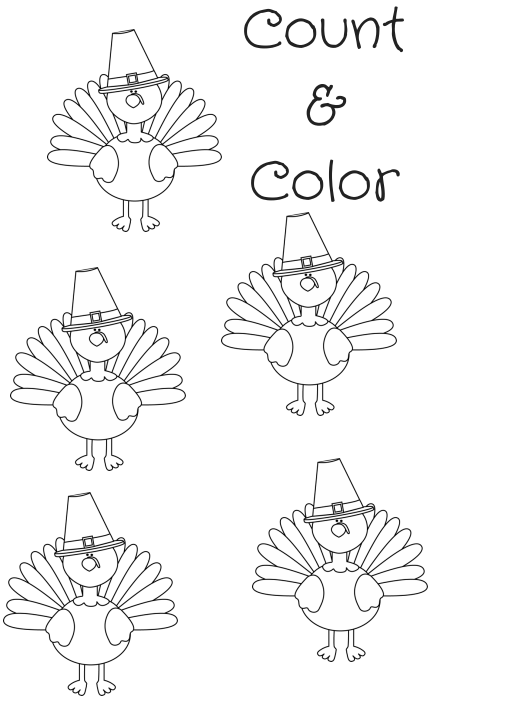 FREE Turkey Printable Coloring Sheet ~ Count & Color #