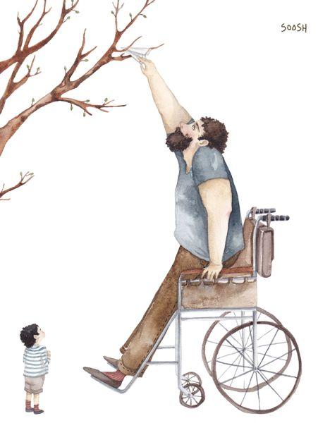 Illustration enfants face au handicap par Soosh