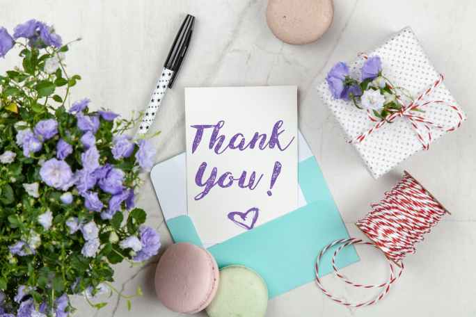 Thank you text with blue flowers