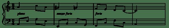 partition musicale avec les nuances : piano mezzoforte et forte