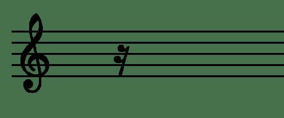 le symbole du quart de soupir avec ses 2 crochets