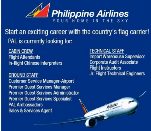 Philippine Airlines Job Hiring for PAL Cabin Crew and Ground Staff