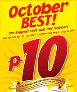 10 Pesos Cebu Pacific Promo Fare for 2014: May, June, July, August
