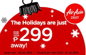 Air Asia 299 Promo Fare: November and December 2013, up to January 31, 2014