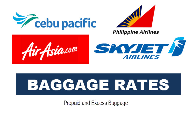 Baggage Rates Cebu Pacific Air Asia PAL SkyJet