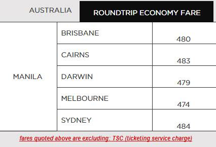 Philippine Airlines promo to Australia 2017