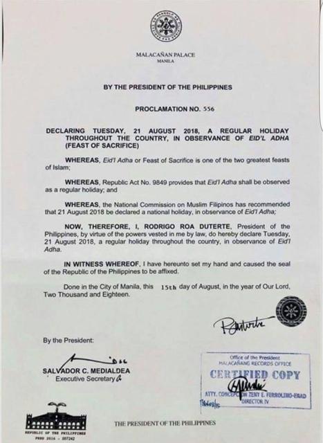 eidl adha 2018 holiday philippines