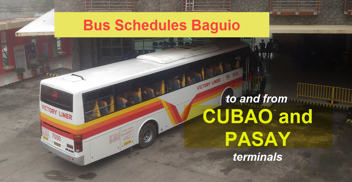 Cubao and Pasay to Baguio Bus Schedule