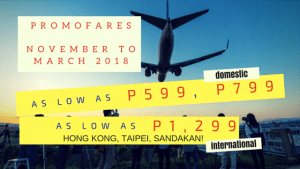CEBU PAC Promo Fares Including November, December 2017 and January, February, March 2018