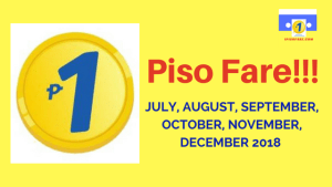 Piso Fare Promo for July, August, September, October, November, December 2018